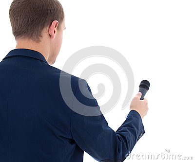 Reporter holding microphone isolated on white background