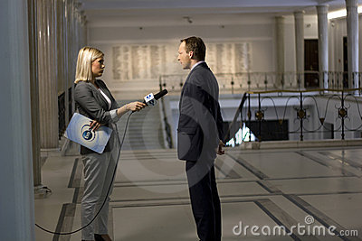 Reporter interviews a politician Editorial Stock Photo