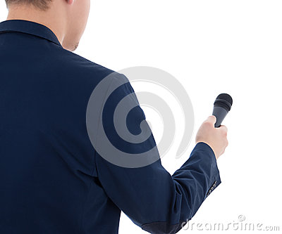 Reporter with microphone isolated on white background