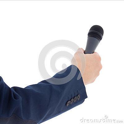 Reporter s hand holding a microphone isolated on white