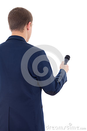 Reporter in suit holding microphone isolated on white background