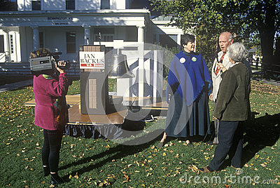 Reporters interviewing Jan Backus Editorial Stock Photo