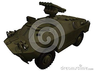 Representación 3d de un soviet BRDM3 con los aviones antis Rockets