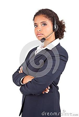 Representative businesswoman with headset