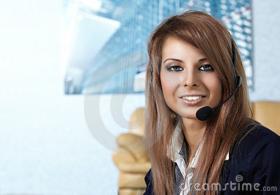 Representative call center woman with headset