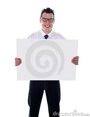 Representative holding blank signboard