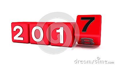reprezentuje nowego roku 2018 3d animacja czerwoni sześciany z 2017, 2018 - ilustracja wektor