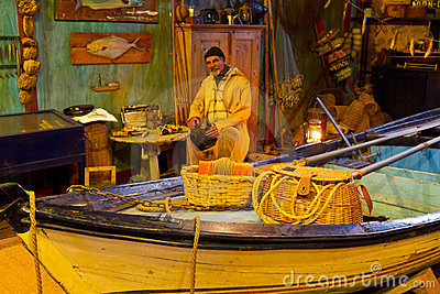 Reproduction of fisherman workshop Editorial Photo