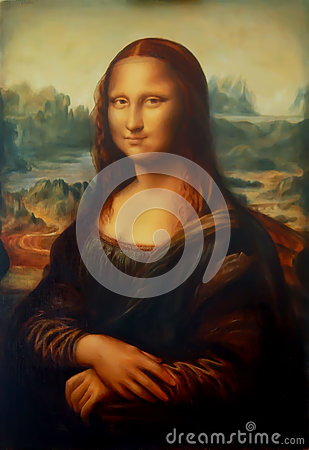 Free Reproduction Of Painting Mona Lisa By Leonardo Da Vinci And Light Graphic Effect. Stock Photos - 86769123