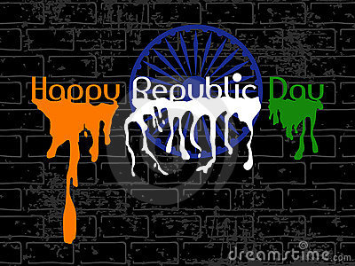 Republic Day Text with flew paint on black wall