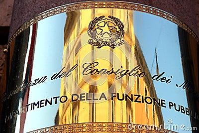 Republic of Italy Plaque Editorial Stock Photo