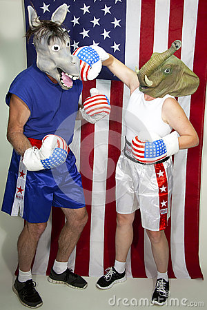 Republican beating up on a Democrat Editorial Stock Image