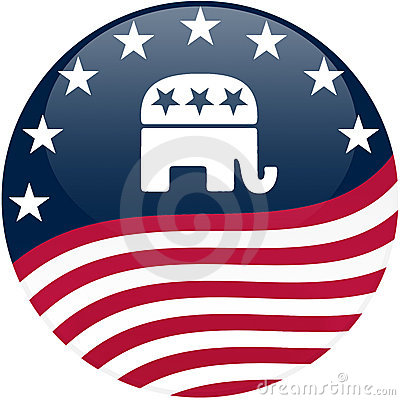 Free Republican Button - Waving Flag Stock Photography - 5140222