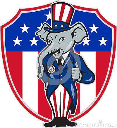 Republican Elephant Mascot Thumbs Up USA Flag Editorial Photo