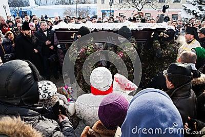 Requiem on Euromaidan activist Michail Zhiznevsky Editorial Stock Image