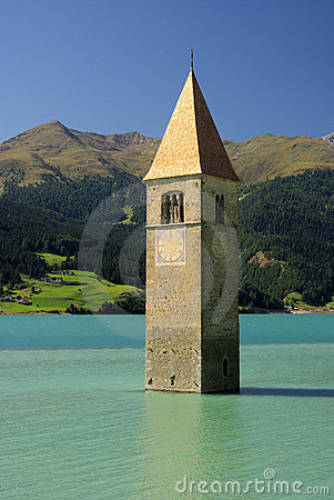 Reschensee with church