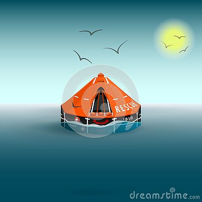 Free Rescue A Orange Raft On The Sea. Gulls And The Sun. Salvation On The Water. Vector Illustration Stock Photography - 139113892