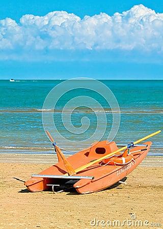 Rescue boat alongshore