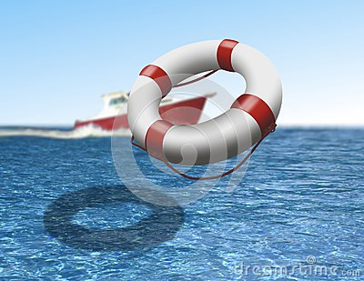 Rescue boat and buoy at sea