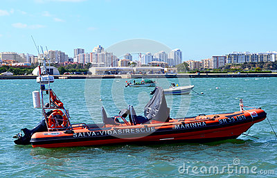 Rescue boat in Ferragudo Editorial Photo