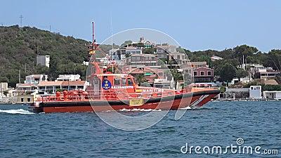 Rescue boat guarding waters of Menorca Spain Sep. 2017 stock video