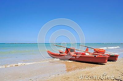 Rescue boat on the sea