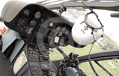 Rescue helicopter cockpit Editorial Photo