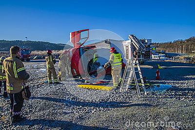 Rescue of an person in a overturned panel van Editorial Photo