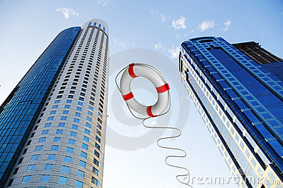 Rescue ring against skyscrapers