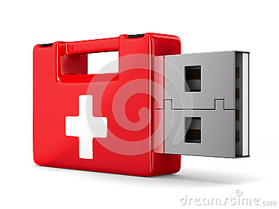 Rescue usb flash drive on white background
