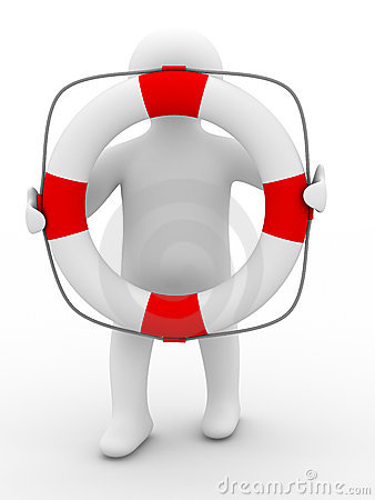 Rescuer with lifebuoy ring on white background