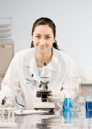 Research scientist in lab coat