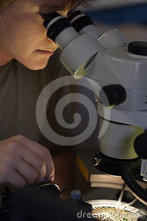 Research scientist looking at microchip with scope