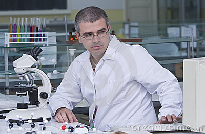 Researcher at his workplace