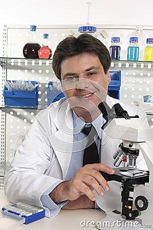 Researcher scientist  sitting at laboratory desk