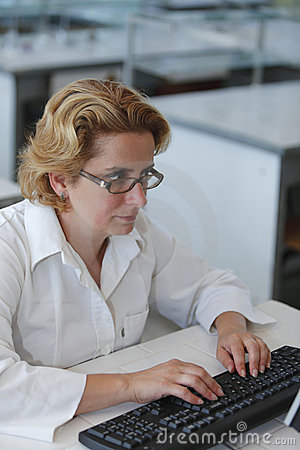 Researcher typing