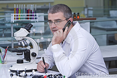 Researcher using a mobile