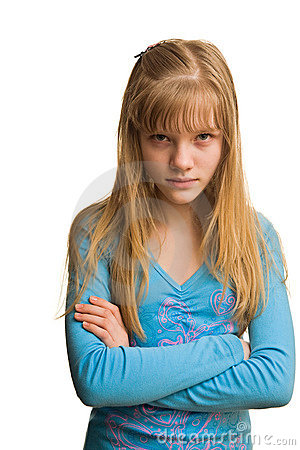 Resentment of young girl in blue