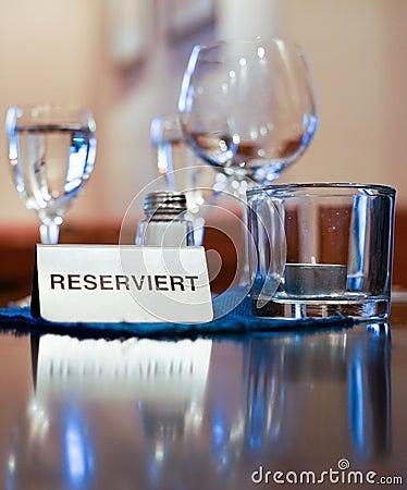 Reserved restaurant table