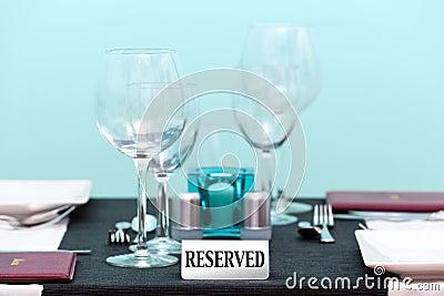 Reserved restaurant table setting