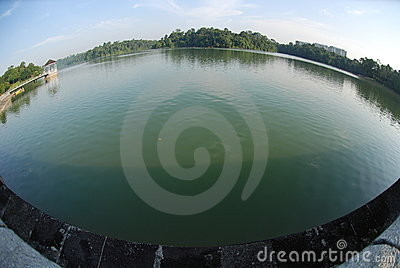 Reservoir bank and water