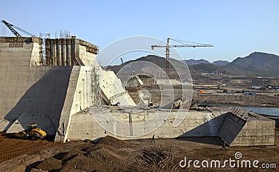 A  reservoir being built