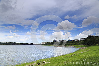 Reservoir with buildings