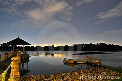 A Reservoir with calm water by night