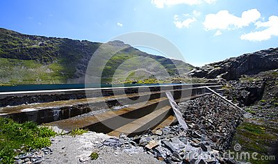 Reservoir water and dam in mountain