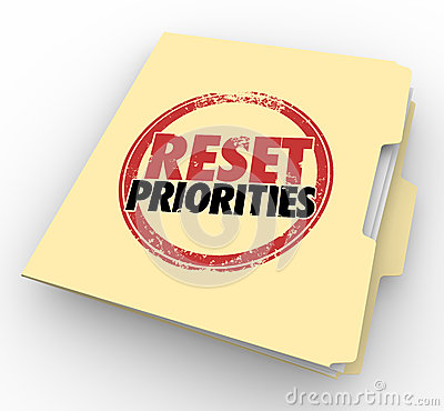 Free Reset Priorities Manila Folder Files Top Most Important Jobs Tas Royalty Free Stock Image - 50920786