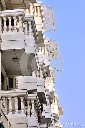 Residence building with many balconies