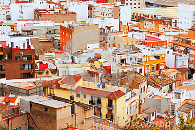 Residence district of Sagunto in summer