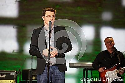 Resident of Comedy Club Garik Bulldog Kharlamov on stage Editorial Photo