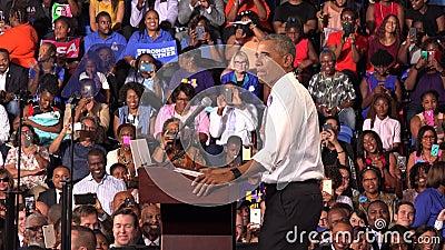 Resident of USA Barack Obama meet with students of Florida Memorial University. USA, FLORIDA, OCTOBER 20, 2016: President of USA Barack Obama meet with students